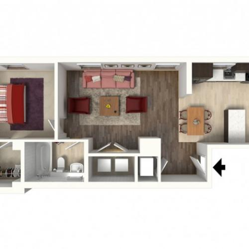 1 Bdrm Floor Plan | Apartments In South Kansas City | Infinity at Plaza West