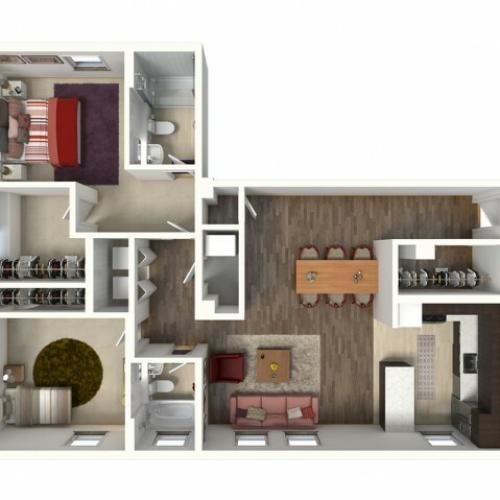 2 Bdrm Floor Plan   Kansas City Apartments   Infinity at Plaza West