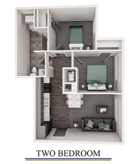 3 D FLoor Plan 2 Bedroom