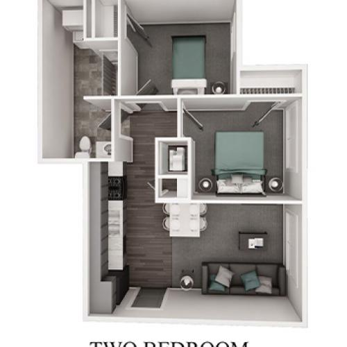 3 D FLoor Plan 2 Bedroom