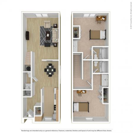 2 Bed, 2.5 Bath Townhome