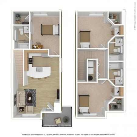 3 Bed, 3 Bath Townhome Deluxe