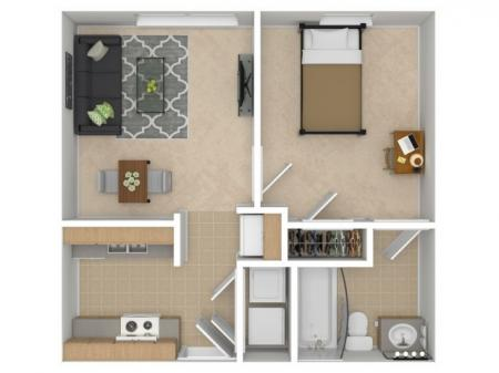 1 Bed, 1 Bath Patio
