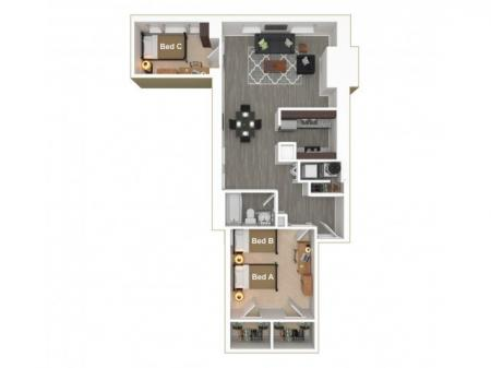 2 Bed, 1 Bath Urban
