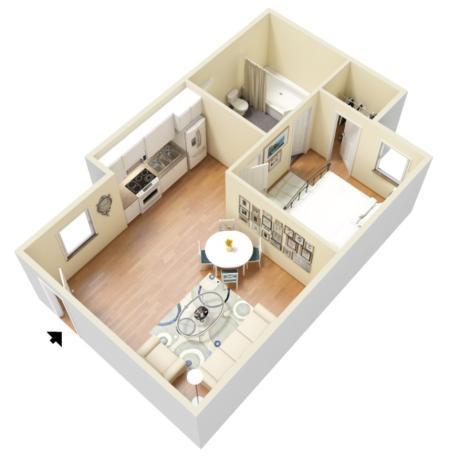 1 Bed 1 Bath Interior