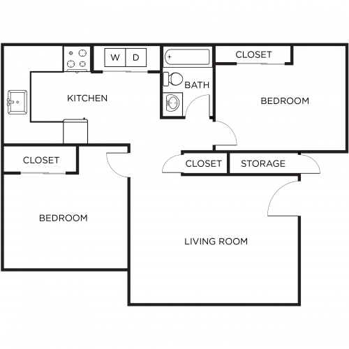 Two Bedroom One Bathroom A