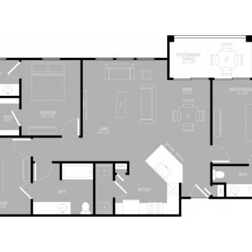 3 Bedroom Floor Plan   Apartments In Rowlett Texas   The Mansions at Bayside