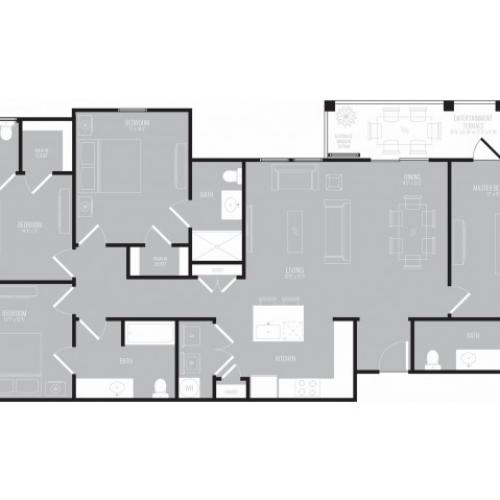 4 Bedroom Floor Plan   Apartments Rowlett Texas   The Mansions at Bayside