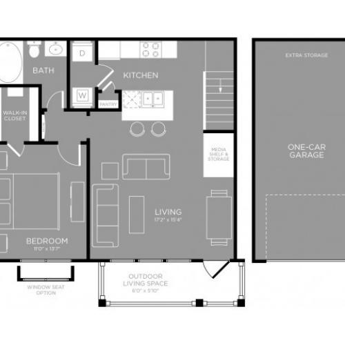 3D Floor Plan 1 | Aubrey Apartments | The Mansions 3Eighty
