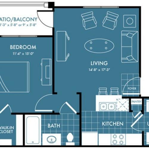 Floor Plan 1 | Magnolia Texas Apartments | The Estates Woodland