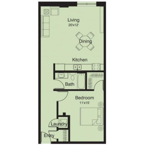 1 bed/ 1 bath floor plan