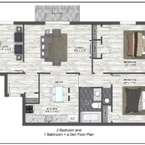 2 Bed 1 Bath w / Den | Frontier Apartment