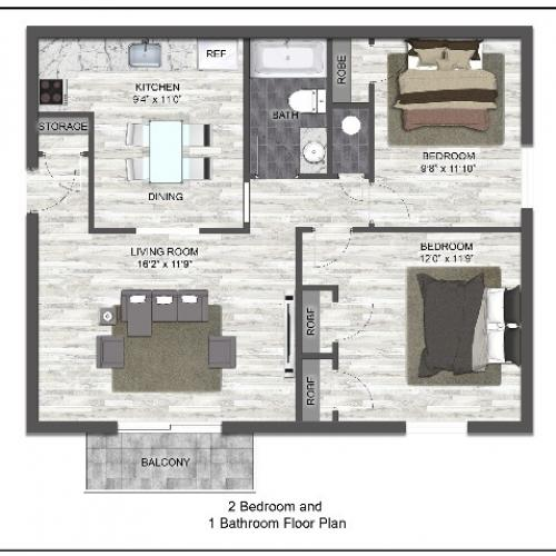 2 Bed 1 bath B | Frontier Apartment
