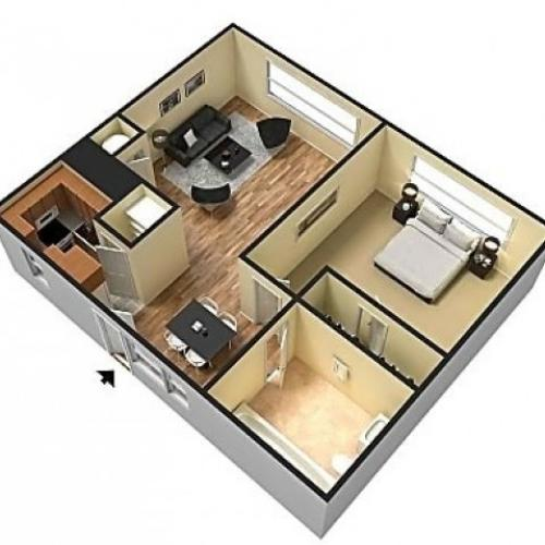 The Field 1 Bedroom floor plan