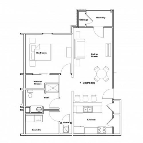 1 bedroom floor plan Republic Palms