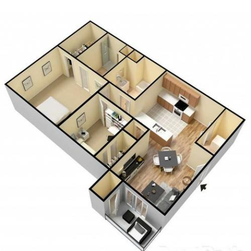 2 Bedroom floor plan Republic Mo