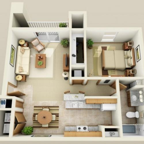 1 Bedroom floor plan Oak Court