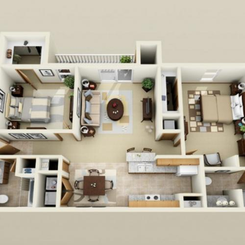 2 Bedroom floor plan Oak Court