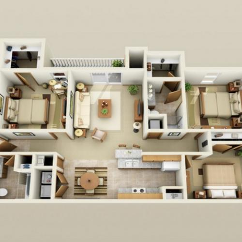 3 Bedroom floor plan Oak Court