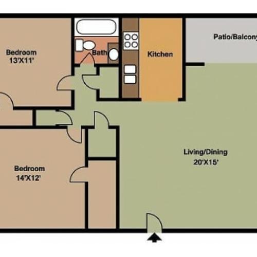 Hillcrest 90 2 Bedroom floor plan