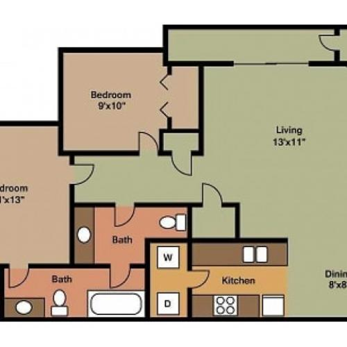 Pebblecreek 2bed, 1.5 bath floor plan 2D