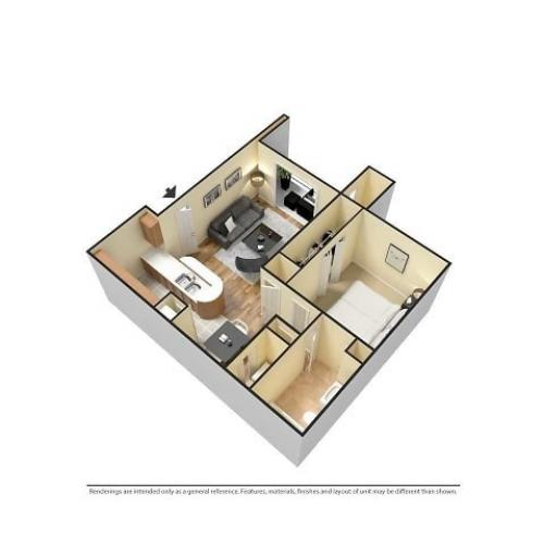 Furnished 3D 1-Bedroom Floor plan Image