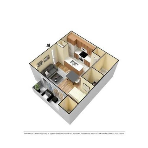 Studio 3D Furnished Floor plan image