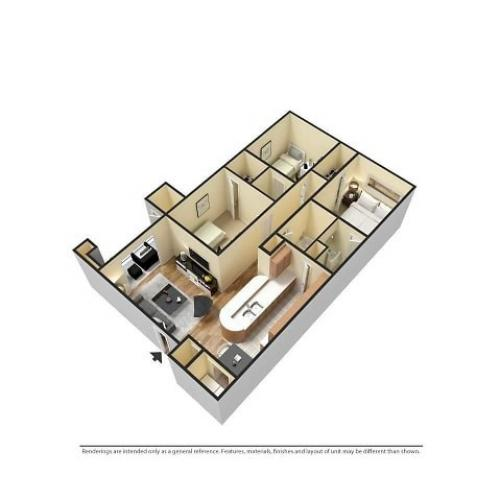 3D Furnished 3-Bedroom Floor Plan Image