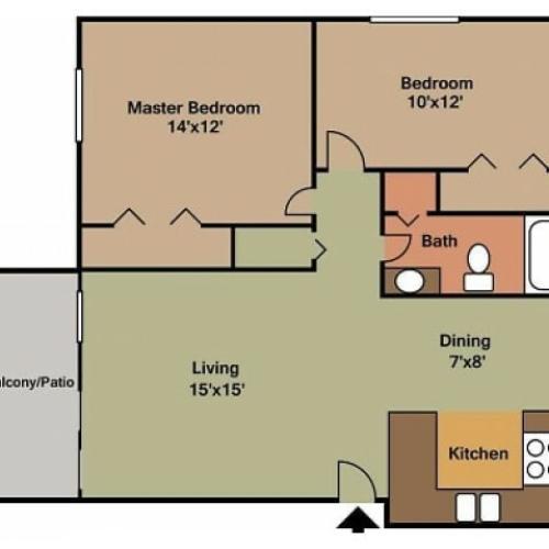 Brarwood Village 2 bedroom 2D floor plan