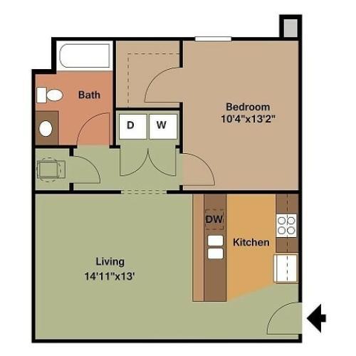 1 Bedroom, 1 Bathroom Market Street Floor Plan 2D