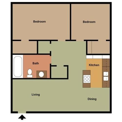 Stonewood 2 bedroom, 1 bathroom floor plan 2D