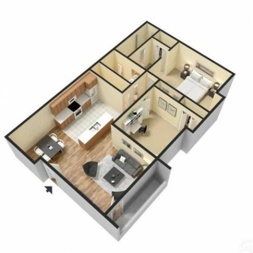 TSH 2 Bedroom, 2 Bathroom Floor Plan 3D