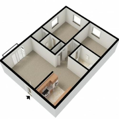 Markwood 2 Bedroom 1.5 Bath 3D
