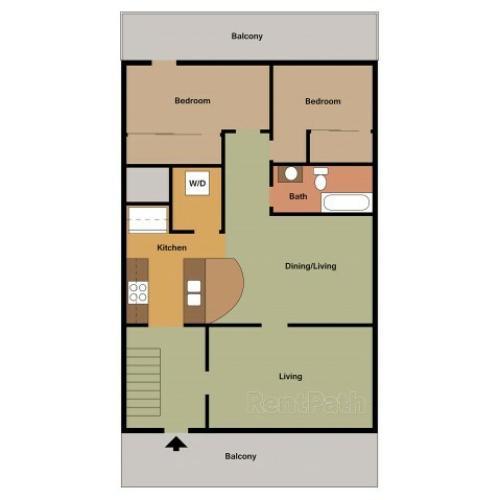 Timbers 1 Bedroom, floor plan 2D