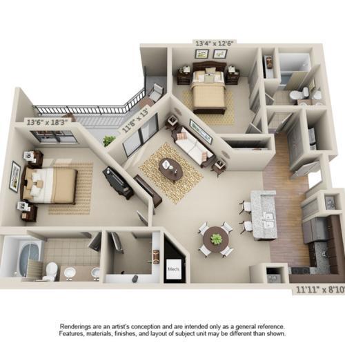 Rivera | 2 Bedroom | 2 Bath |1089 SF