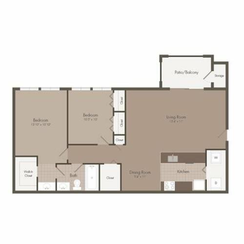 St Tropez | 2 Bedroom | 1 Bath | 818 SF