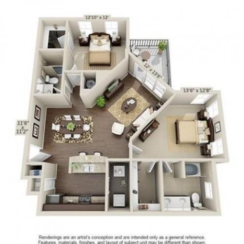 Cooper | 2 Bedroom | 2 Bath | 1163 SF