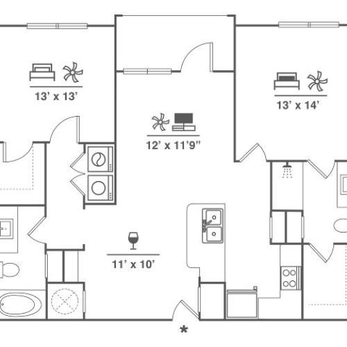 2 Bedroom | 2 Bath | 1112 SF