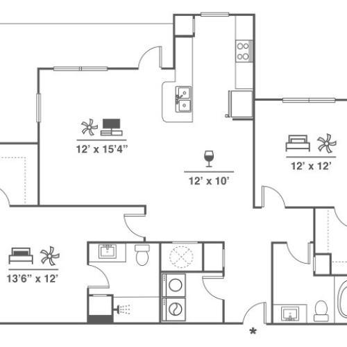 2 Bedroom | 2 Bath | 1243 SF
