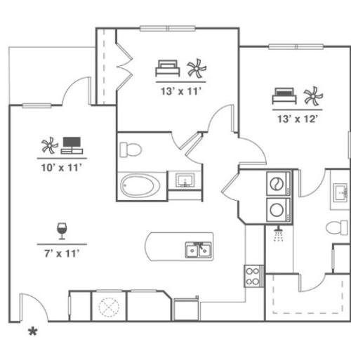 2 Bedroom | 2 Bath | 1121 SF