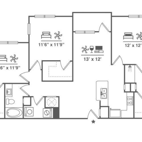 3 Bedroom | 2 Bath | 1376 SF