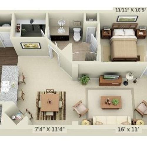 1 Bedroom | 1 Bath | 877 SF