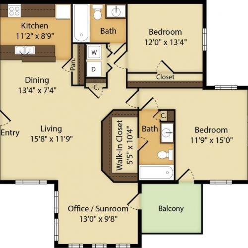2 Bedroom | 2 Bath | Office/Sunroom | 1211 SF