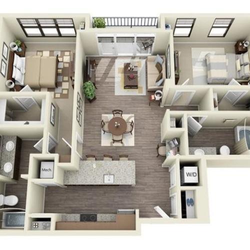 2 Bedroom | 2 Bath | 1077 SF