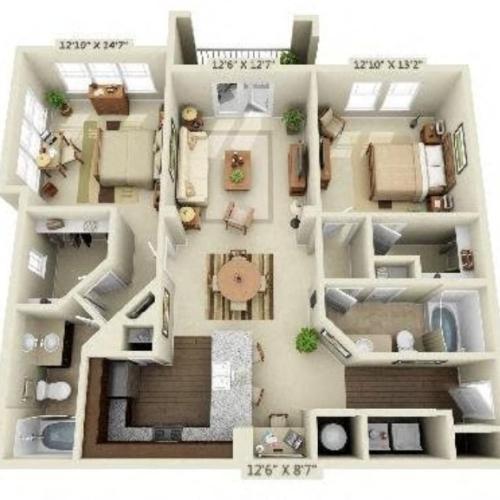 2 Bedroom | 2 Bath | 1251 SF