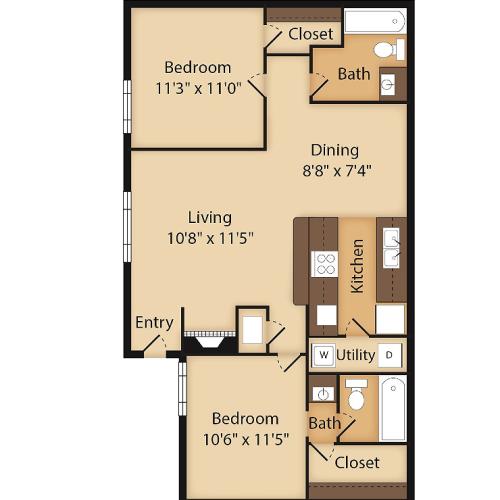 Two Bedroom Floor Plan Image