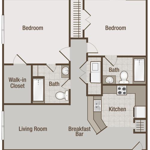 Picture is Mandevilla Two Bedroom Floor Plan