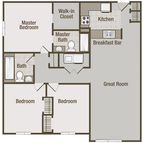 Picture is Wisteria Three Bedroom Floor Plan