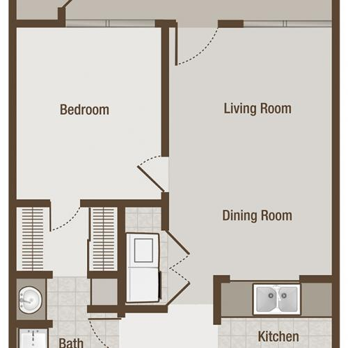 Picture is Pullen One Bedroom Floor Plan