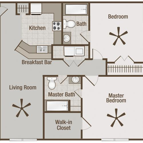 Picture is Carlyle Two Bedroom Floor Plan